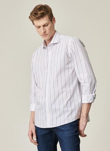Beymen Business Slim Fit Çizgili Gömlek 4B2021100024 Beyaz